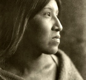 Young woman of the Cahuilla tribe in the Colorado Desert of southern California.